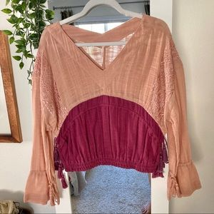 FP Boho Embroidered Color Block Crop Peasant Top